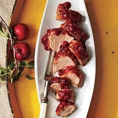 Roast Pork Tenderloin with Plum Barbecue Sauce | MyRecipes.com #myplate #protein