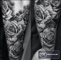 hình xăm hoa hồng kín tay cho nam giới - Rose tattoo for Men #rose