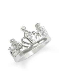 A beautiful sterling silver 5-point crown ring, set with brilliant cubic zirconia, designed exclusively by our company. The ring is handcrafted and polished to a dazzling shine. Ring does not come in