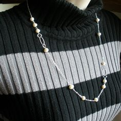 Long pearl lariat necklace Made with freshwater pearl and sterling silver components by StarringYouJewelry #pearlnecklace