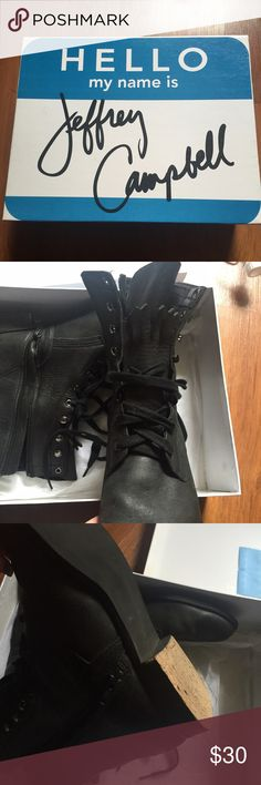 Jeffrey Campbell black combat boots The rubber bottom is missing on the heel of the left shoe. Style is acme-dt they are size 10 but I'd say they would probably fit a size 9 best Jeffrey Campbell Shoes Combat & Moto Boots