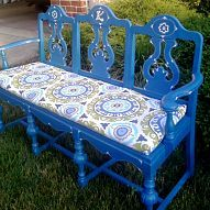 Hometalk :: I repurposed three old dining room chairs into a bench for my garden.…