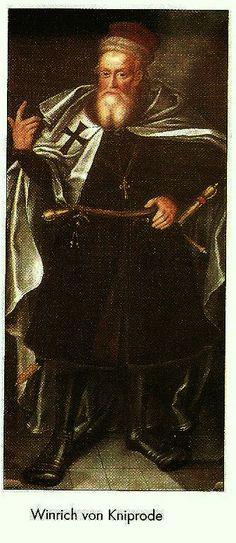 """Zygmunt Iwicki """"Oliwa wczoraj i dziś"""" - Winryk von Kniprode - malowidło z prezbiterium klasztoru w Oliwie, mal. Herman Han (ok. 1613-1620), Oliwa, Gdańsk"""