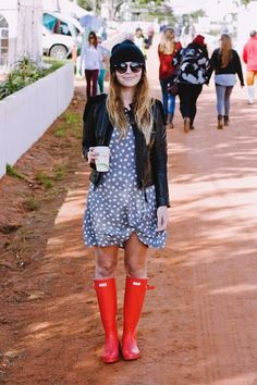 Amy Scheepers of Fancy Pants wearing Hunter wellies to Rocking The Daisies.