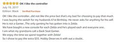 Found this cute comment concerning Zelda in an amazon review for the Switch pro controller Visit blazezelda.tumblr.com