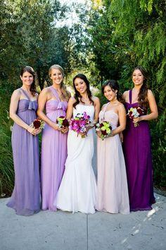 Different purples/shades bridesmaids dresses