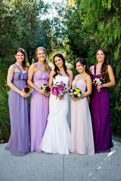 Different purples/shades bridesmaids dresses