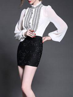 #AdoreWe #StyleWe Tops - Jade&Cloud White H-line Balloon Sleeve Blouse - AdoreWe.net