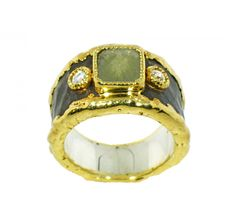 Victor Velyan: 24K Gold, Silver  Ring in Brown Patina  Diamond Rustic and White Diamond