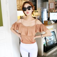 Tops :: Casual :: flounced ruffle off-shoulder spaghetti strap top - Korean Fashion @ 스타일지