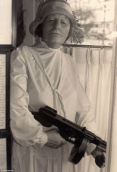 Ma Barker and her Thompson gun in 1935
