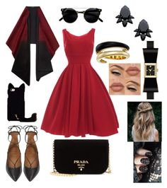 """""""red style"""" by martyswordrobe on Polyvore featuring Aquazzura, Prada, Persy, Michael Kors, Kate Spade and Lafayette 148 New York"""