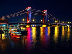 ampera bridge palembang south sumatera It's so beautiful and romantically unforgettable bridge among people's love. Palembang, Romantic Places, Culture Travel, Archipelago, Nice View, Places Ive Been, Bridge, Island, Landscape