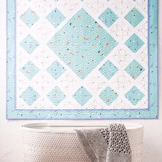 Sweet baby quilt featuring Saltwater by Cinderberry Stitches for Riley Blake Designs