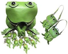 Frog bags with matching tadpole keychains