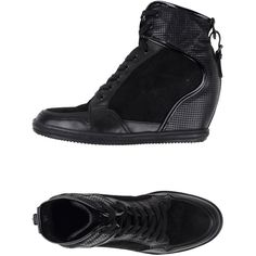 Hogan Rebel Sneakers ($307) ❤ liked on Polyvore featuring shoes, sneakers, black, wedge sneakers, black sneakers, black wedge heel sneakers, wedge shoes and hidden wedge sneakers