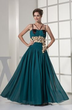 Modest Spaghetti Sleeveless Chiffon Floor Length Evening Dress