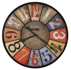 """County Line. This rustic, metal oversized gallery wall clock is over 30"""" in diameter and features an aged dial with multi-colored panels with unique Arabic numerals in various colors."""