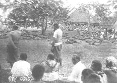 A gathering on the malae. Disposition of the baskets of food and of bark cloth. Image From The Samoa Islands by Dr. Augustin Kramer, 1901