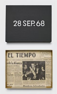 """On Kawara: 28 SEP. 68, 1968. From """"Today"""" series, 1966-2013. Acrylic on canvas, 8 x 10 inches (20.3 x 25.4 cm); page of a journal in a cardboard box."""