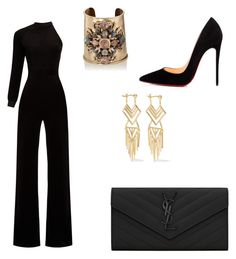 """Untitled #78"" by georgina2610 on Polyvore featuring Vetements, Christian Louboutin, Yves Saint Laurent, Goossens and Noir Jewelry"