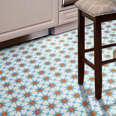 Moroccan Mosaic Tile House Medina x Cement Field Tile Color: Blue/White/Orange Stone Mosaic Tile, Marble Mosaic, Mosaic Glass, Ceramic Subway Tile, Encaustic Tile, Wood Look Tile, Rustic Colors, Wall Patterns, Wall Tiles