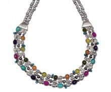 JILLBEADS Confetti Necklace Antique Silver with Multicolored Beads and Etched Metal