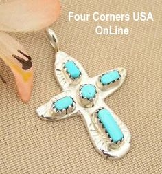 Four Corners USA Online - Artisan Turquoise Sterling Cross Zuni Silversmith Cecilia Iule Native American Jewelry, $38.00 (http://stores.fourcornersusaonline.com/artisan-turquoise-sterling-cross-zuni-silversmith-cecilia-iule-native-american-jewelry/)