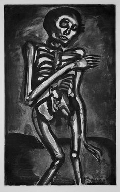 Georges Rouault (French, 1871-1958): Miserere III: Guerre / War - Plate 45: La Mort l'a pris comme il sortait du lit d'orties / Death took him as he rose from his bed of nettles (C&R 98f). Original etching, aquatint, roulette, drypoint, burnishing, 1922.
