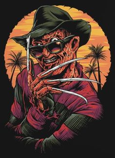 freddy krueger - its summertime T shirt on Mercari Slasher Movies, Horror Movie Characters, Clown Horror Movie, Funny Horror, Horror Posters, Horror Icons, Horror Artwork, Classic Monsters, Iconic Movies