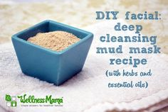 DIY Homemade Natural Deep Cleansing Mud Mask Recipe - This mud mask combines deep cleansing bentonite clay with skin nourishing antibacterial raw honey and herbs and essential oils to restore and firm skin! Homemade Skin Care, Homemade Beauty Products, Natural Products, Homemade Moisturizer, Facial Products, Homemade Soaps, Body Products, Wellness Mama, Natural Beauty Recipes