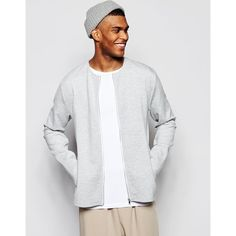 ASOS Bonded Jersey Bomber Jacket In Gray ($51) ❤ liked on Polyvore featuring men's fashion, men's clothing, men's outerwear, men's jackets, grey, mens gray leather jacket, asos mens jackets, mens zip up jacket, mens bomber jacket and mens tall jackets