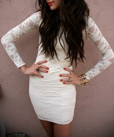 Love the white, lace sleeves.
