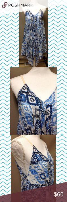 Blue and Black Aztec Print Dress Size: Small. 100% Rayon. Blu Pepper Dresses Asymmetrical