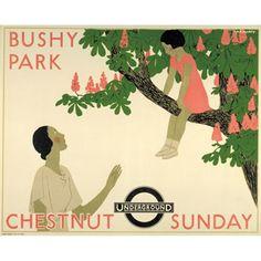 Bushy Park Chestnut Sunday - by Andre Edouard Marty 1933 - London Transport Museum Posters Uk, Railway Posters, Art Deco Illustration, Illustrations, London Transport Museum, Public Transport, Art Deco Artists, Estilo Art Deco, Harper's Bazaar