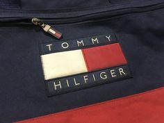 Vintage Tommy Hilfiger duffel bag big flag logo color block travel bag by AlivevintageShop on Etsy