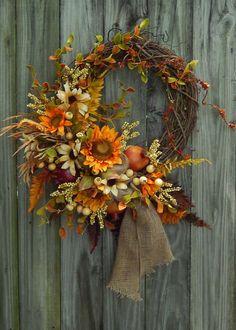 Fall Wreath, Autumn Wreath , Wreath For The Door , Fall Decor,  Etsy , Sun Flower Wreath , Country Wreath , Primitive Wreath on Etsy, $115.00