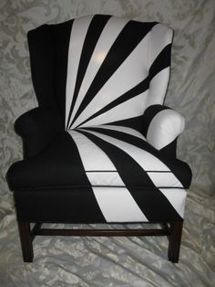 Award of Excellence Residential upholstery Black & White Chair Kipe's Upholstery -- it makes me think of a piano Funky Furniture, White Furniture, Painted Furniture, Chair Upholstery, Upholstered Furniture, Black And White Chair, Black White, Eames Chairs, Lounge Chairs