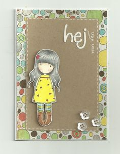 Cute card using Gorjuss Girl and Bo Bunny paper, so sweet! 3d Cards, Cute Cards, Stampin Up Cards, Christmas Card Decorations, Tiddly Inks, Card Making Inspiration, Copics, Baby Cards, Creative Cards