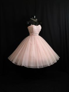 Vintage 1950's 50s Cupcake Strapless PINK Ruched Chiffon Organza Bows Party Prom Wedding Dress Gown. $349.99, via Etsy.