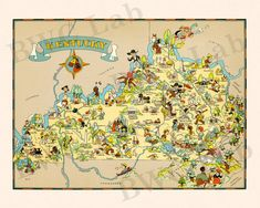 Pictorial Map of Kentucky  colorful fun illustration of by FunMaps, $10.00