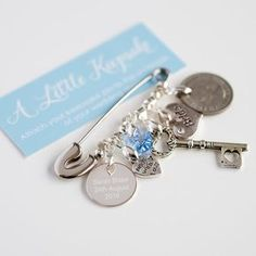 Our gorgeous personalised plated and sterling sterling wedding bridal pin for brides is a lovely gift to give on her wedding day, something she will treasure forever! Each little charm represents part of the traditional poem, something old (genuine old sixpence), something new (new bride), something borrowed (a key), something blue (blue crystal heart). Our sweet wedding pin can be attached inside the brides wedding dress or her bridal bag or pouch to bring her luck. Our pins are presented…