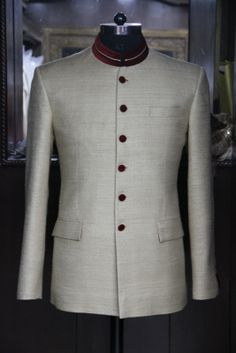 Beige Bandh Gala with brown velvet detailing