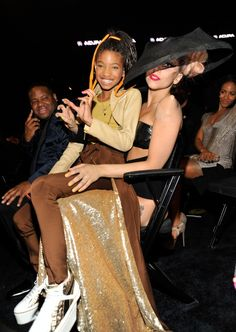 Candid GRAMMY Moments - Willow Smith And Lady Gaga - A true little monster. Willow Smith sits on the lap of mother monster Lady Gaga at the 53rd GRAMMY Awards in 2011