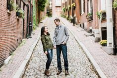 Fall Engagement Photos in Boston at Piers Park, Boston Public Garden, and Acorn Street | Annmarie Swift | Boston Wedding Photographer