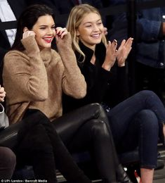 Into it: Kendall and Gigi were pleased with the on-court performance...