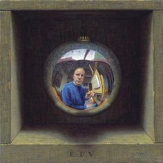 Self-portrait by Eric de Vree / The box is part of the painting.