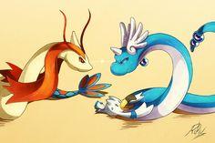 Milotic and Dragonair 2 Of my Favorite Pokemon <3 Hope you Enjoy again!!!