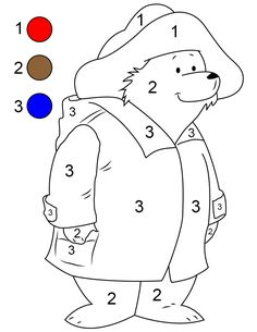 Paddington Bear Coloring Pages Paddington Bear By Number - Nowera Printable Preschool Worksheets, Kindergarten Math Worksheets, Printable Coloring, Preschool Colors, Preschool Writing, Preschool Learning Activities, Kids Learning, Ours Paddington, Paddington Bear Party