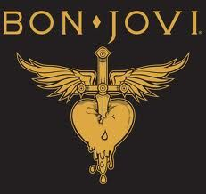 """The """"heart and dagger"""" Bon Jovi logo is widely regarded as one of the most memorable and instantly recognizable logos in rock history. It features a red heart, a dagger and the wings with the band's name on the top. Jon Bon Jovi, Bon Jovi 80s, Bon Jovi Album, 80s Rock Bands, Rock Band Logos, Cool Bands, Band Wallpapers, Band Posters, Foo Fighters"""